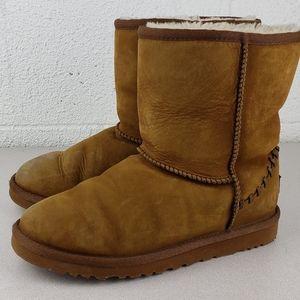 Ugg Short Deco Tan Boots Womens 5